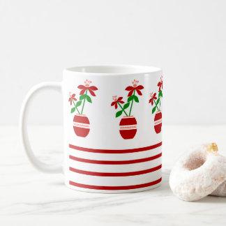 Red Repeated Craft Flowers Mug