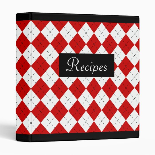 Red Retro Argyle Recipe Binder Scrapbook Gift