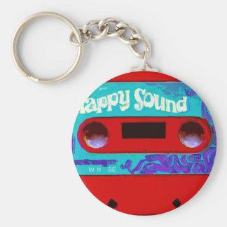 Red Retro Audio Cassette Tape Basic Round Button Keychain