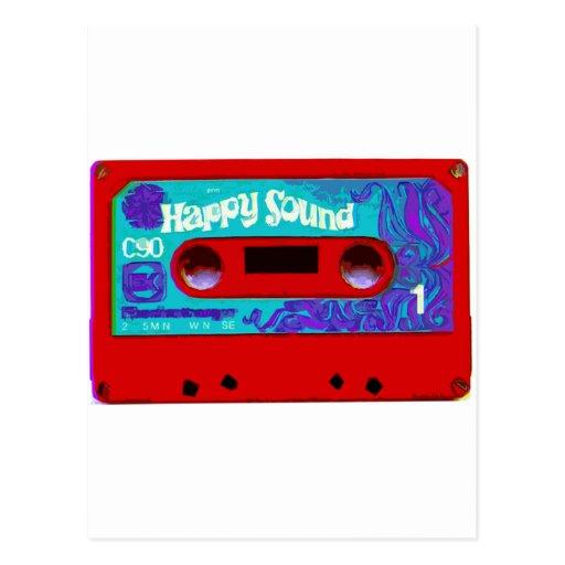 Red Retro Audio Cassette Tape Post Card