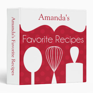Red Retro Baking Utensils Recipe Binder