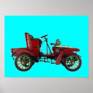 RED RETRO CAR / AUTO RESTORATION - AUTOMOTIVE blue Poster