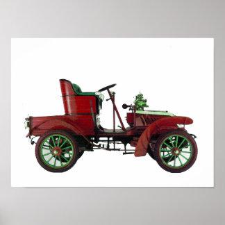 RED RETRO CAR / AUTO RESTORATION - AUTOMOTIVE POSTER
