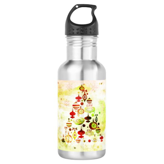 Red Retro Christmas Tree 532 Ml Water Bottle