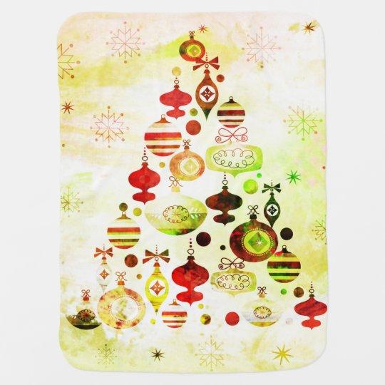 Red Retro Christmas Tree Baby Blanket