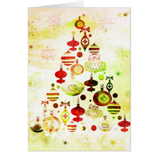 Red Retro Christmas Tree Card