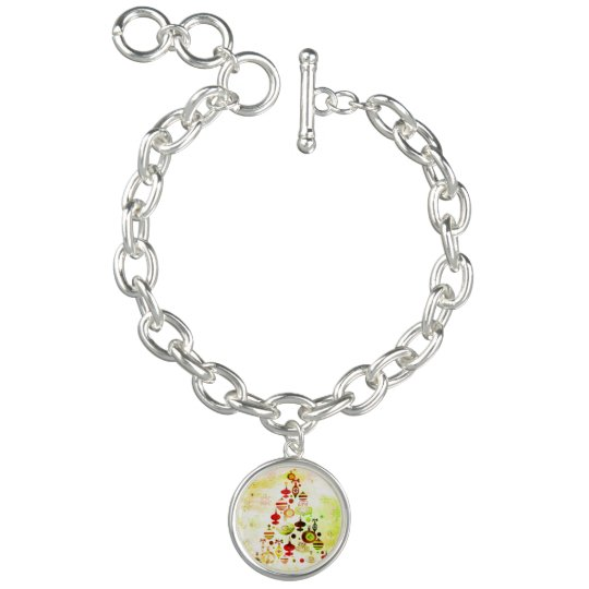 Red Retro Christmas Tree Charm Bracelet