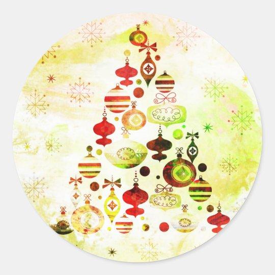 Red Retro Christmas Tree Classic Round Sticker