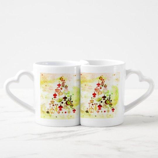 Red Retro Christmas Tree Coffee Mug Set
