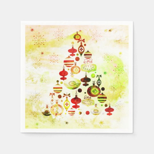 Red Retro Christmas Tree Disposable Napkin
