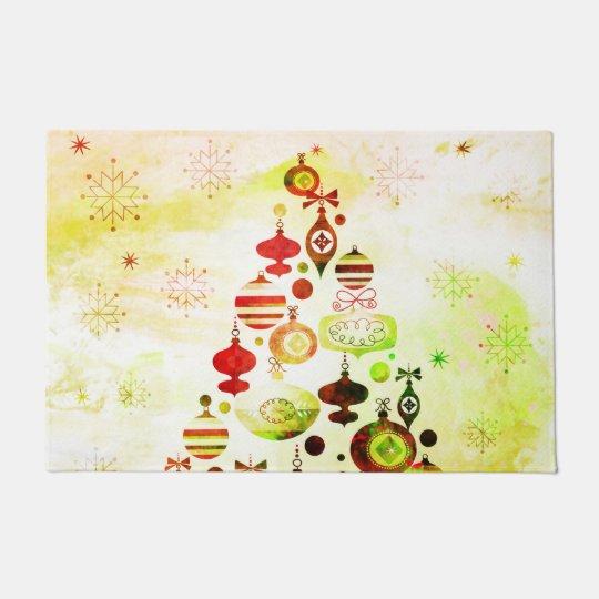 Red Retro Christmas Tree Doormat