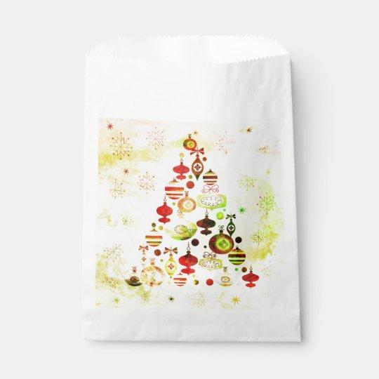 Red Retro Christmas Tree Favour Bag