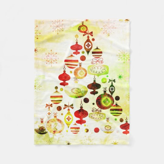 Red Retro Christmas Tree Fleece Blanket