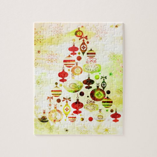 Red Retro Christmas Tree Jigsaw Puzzle