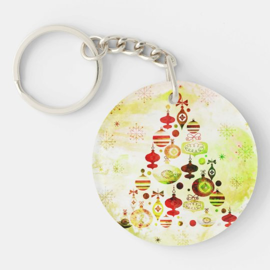 Red Retro Christmas Tree Keychain