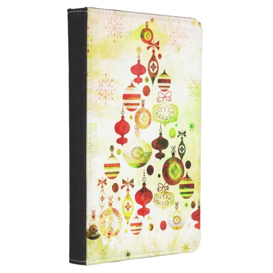 Red Retro Christmas Tree Kindle Case