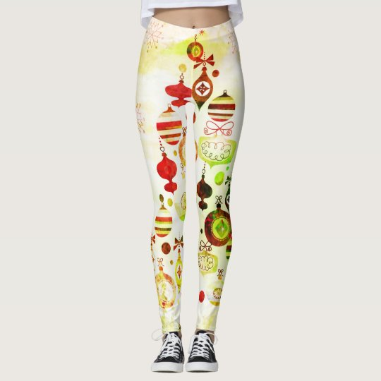 Red Retro Christmas Tree Leggings