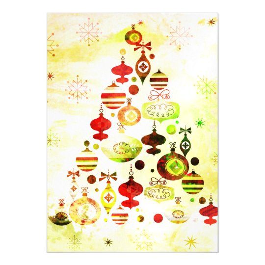 Red Retro Christmas Tree Magnetic Card