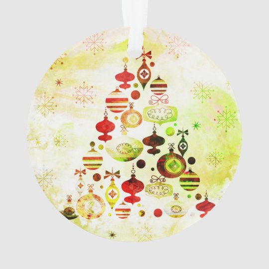Red Retro Christmas Tree Ornament
