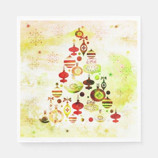 Red Retro Christmas Tree Paper Napkin