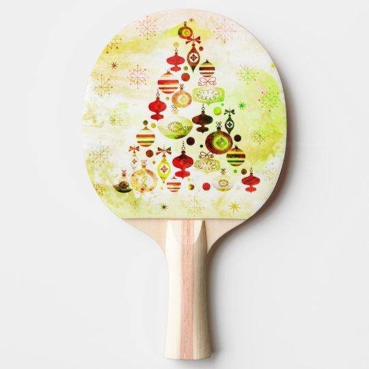 Red Retro Christmas Tree Ping Pong Paddle