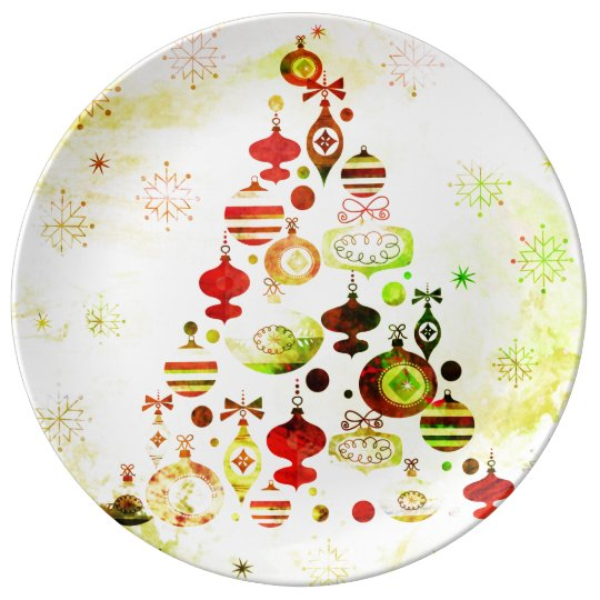 Red Retro Christmas Tree Plate