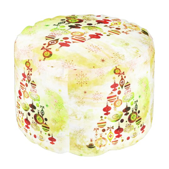 Red Retro Christmas Tree Pouf