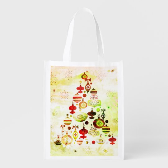 Red Retro Christmas Tree Reusable Grocery Bag