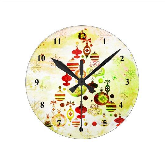 Red Retro Christmas Tree Round Clock