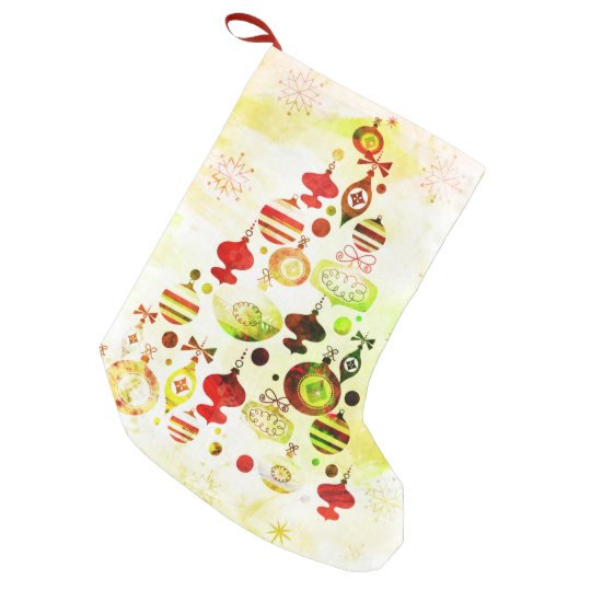 Red Retro Christmas Tree Small Christmas Stocking