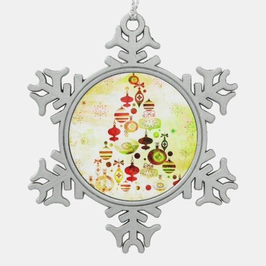 Red Retro Christmas Tree Snowflake Pewter Christmas Ornament