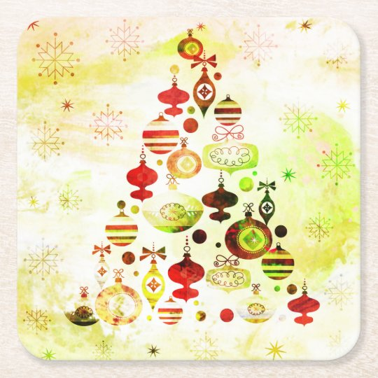 Red Retro Christmas Tree Square Paper Coaster