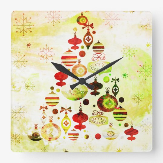 Red Retro Christmas Tree Square Wall Clock