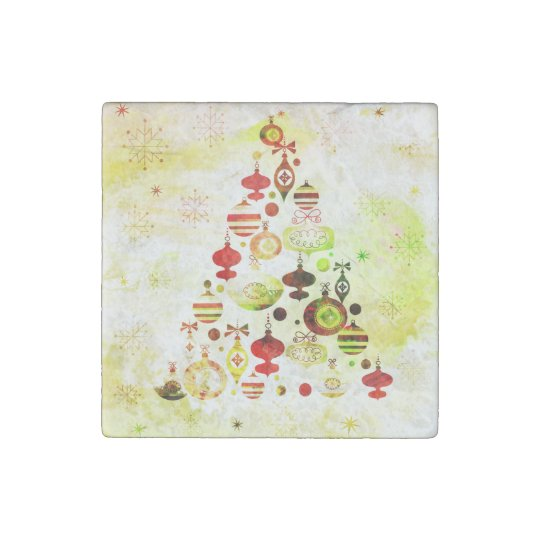 Red Retro Christmas Tree Stone Magnets