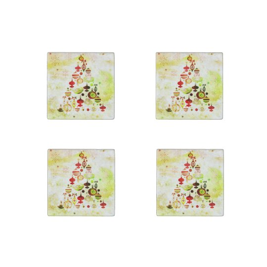 Red Retro Christmas Tree Stone Magnets