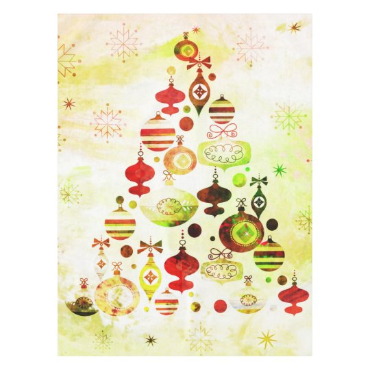 Red Retro Christmas Tree Tablecloth