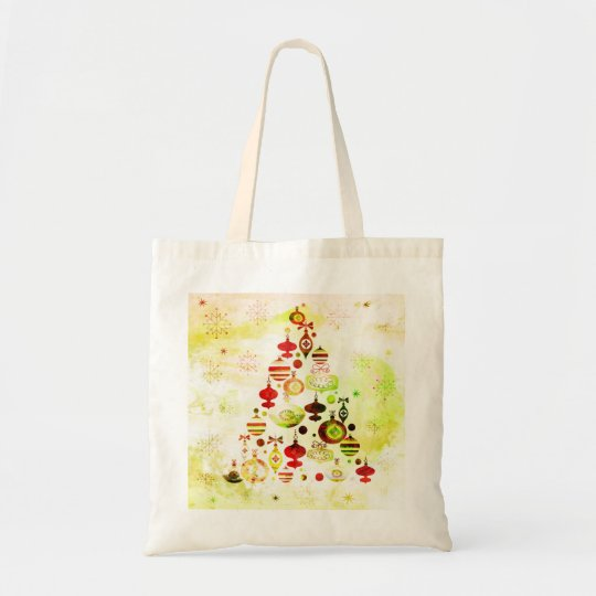 Red Retro Christmas Tree Tote Bag