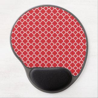 Red Retro Colorful Modern Quatrefoil Pattern Gel Mouse Pad