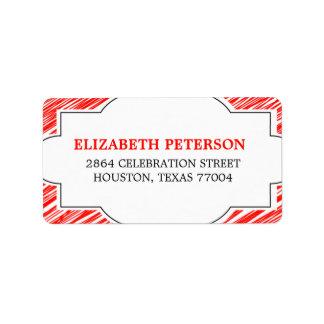 Red Retro frame  holiday address label