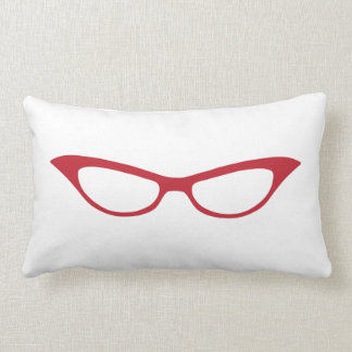 Red Retro Glasses Houndstooth Throw Pillow