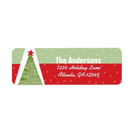 Red Retro Green Christmas Tree Return Address