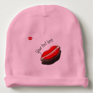 Red Retro Look Mouth Baby Beanie