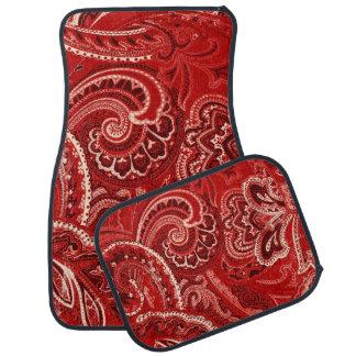 Red Retro Paisley Bandanna/Bandana Car Mat