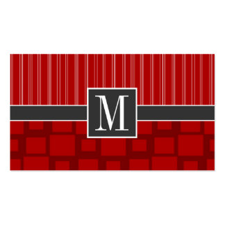 Red Retro Square Business Card