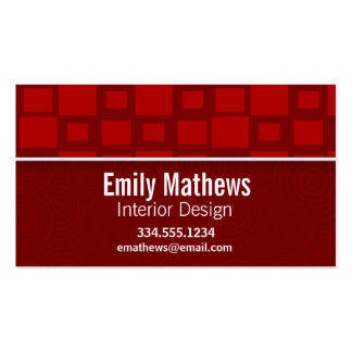 Red Retro Squares; Square Pattern Double-Sided Standard Business Cards (Pack Of 100)