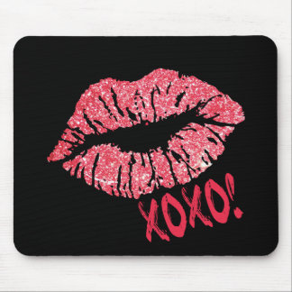 RED RETRO SUGAR LIPS XOXO MOUSE PAD