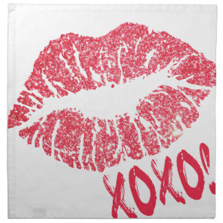 RED RETRO SUGAR LIPS XOXO NAPKIN