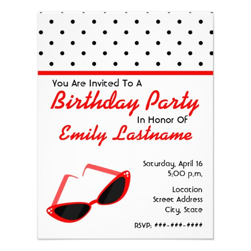 Red Retro Sunglasses / Polka Dots Birthday Party Custom Announcement