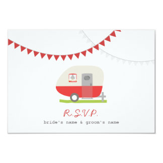 Red Retro Trailer & Bunting Wedding RSVP Card