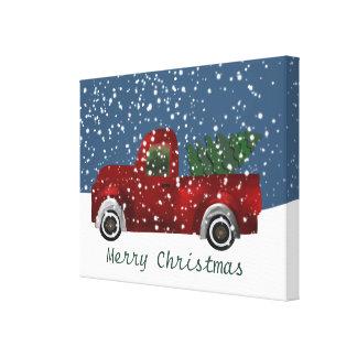 Red Retro Truck Christmas Tree Canvas Print